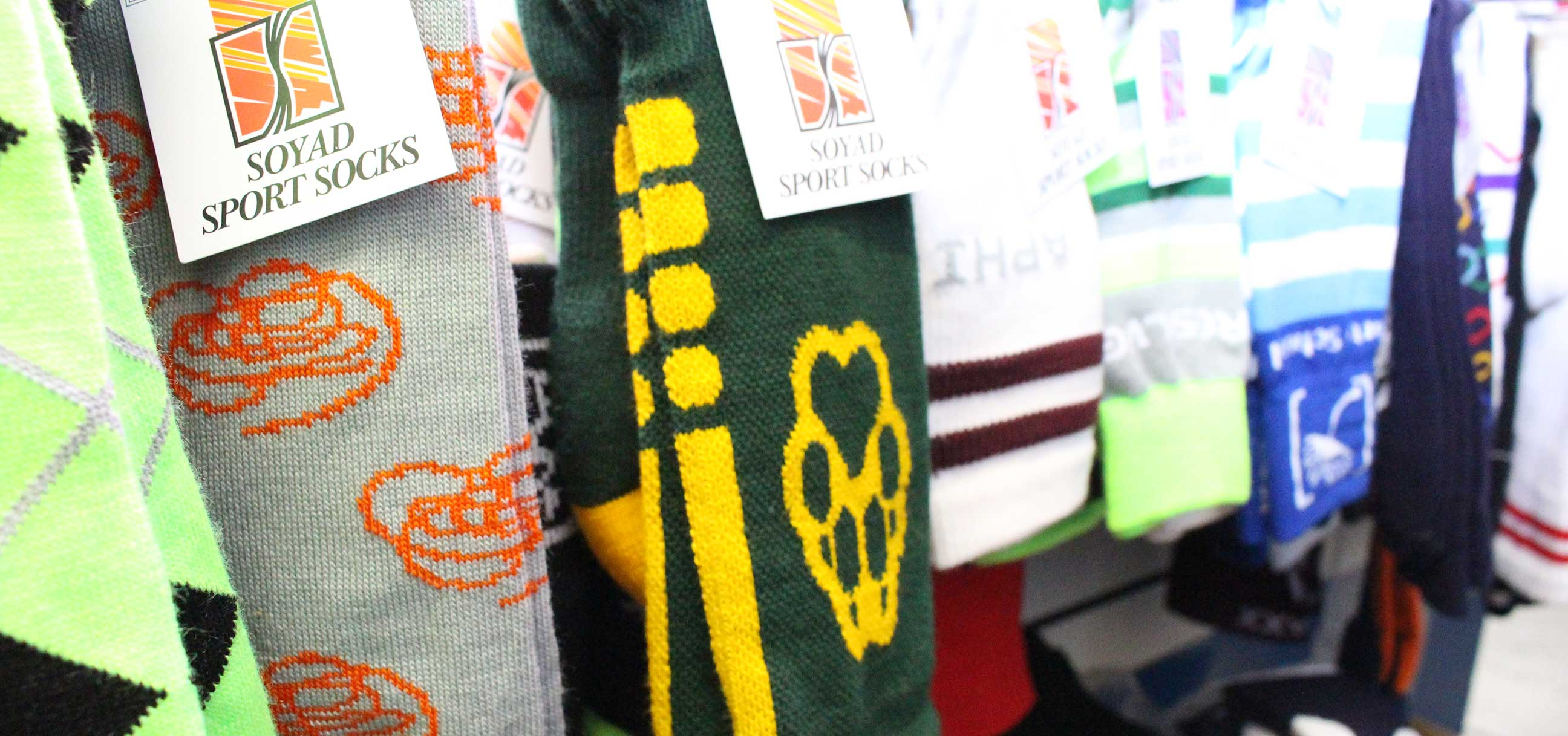 Custom sports socks for<br>all your athletic teams and events.
